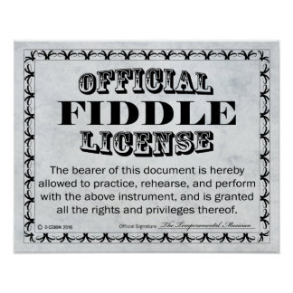 Fiddle License Poster