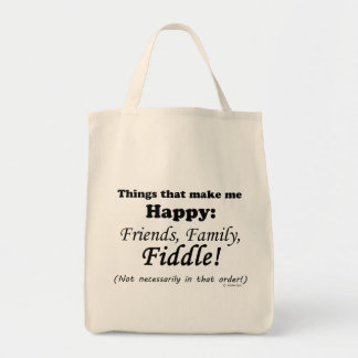 Fiddle  Makes Me Happy Grocery Tote Bag