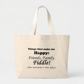 Fiddle  Makes Me Happy Jumbo Tote Bag