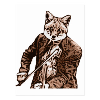 Fiddle Music fox Postcard
