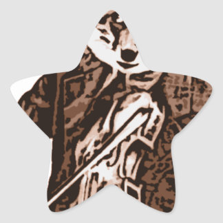 Fiddle Music fox Star Sticker