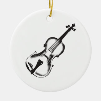 "Fiddle or Violin ""Drawing"" Double-Sided Ceramic Round Christmas Ornament"