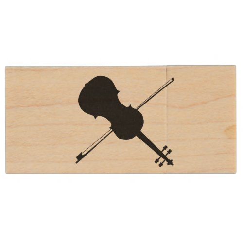 Fiddle Silhouette Wood Flash Drive