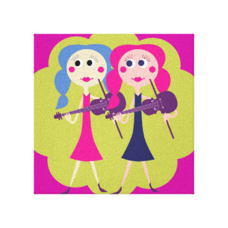 Fiddle Sisters Bedroom Wall Art Stretched Canvas Prints