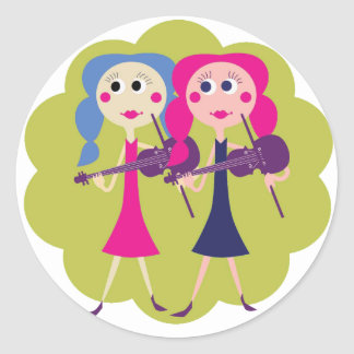 Fiddle Sisters on Notecards Classic Round Sticker