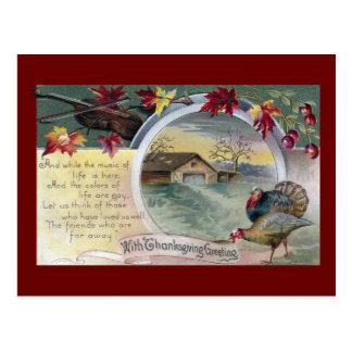 Fiddle, Turkeys and Barn Vintage Thanksgiving Postcard