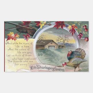 Fiddle, Turkeys and Barn Vintage Thanksgiving Rectangular Sticker