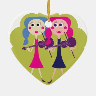 Fiddle Twins Ceramic Ornament