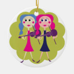 Fiddle Twins Double-Sided Ceramic Round Christmas Ornament