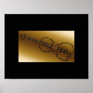 Fiddle Word Art Violin Shape Poster