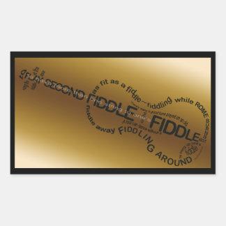 Fiddle Word Art Violin Shape Rectangular Sticker