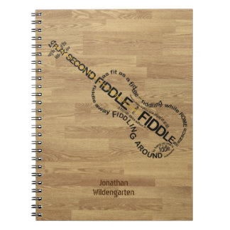 Fiddle Word Art Violin Shape Wood Look Custom Name Spiral Notebook