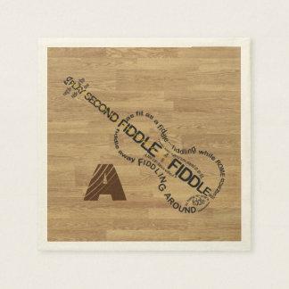 Fiddle Word Art Violin Shape Wood Look Monogram Paper Napkin