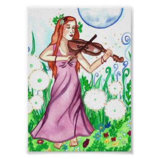 Fiddler and the Moon Fantasy Art Poster