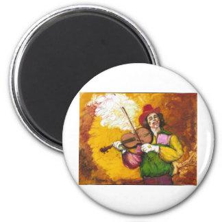 """Fiddler Clown """"Dubie Hummingbyrd"""" 2 Inch Round Magnet"""