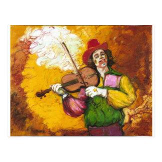 "Fiddler Clown ""Dubie Hummingbyrd"" Postcard"