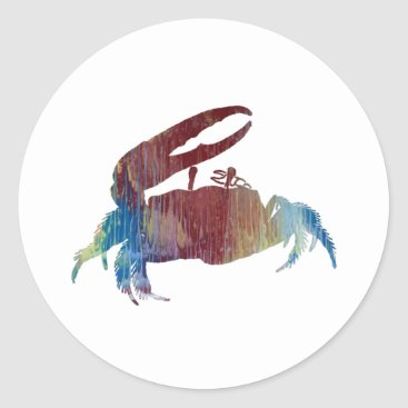 Beach Themed Fiddler Crab Classic Round Sticker