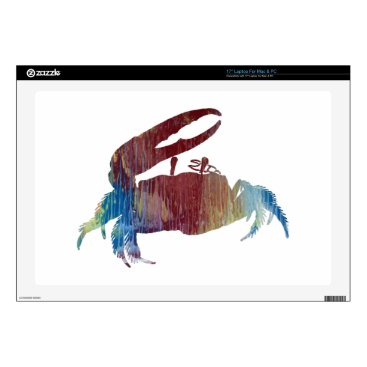 """Beach Themed Fiddler Crab Decals For 17"""" Laptops"""
