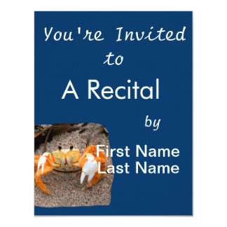 "Fiddler Crab On Beach Colorized Orange 4.25"" X 5.5"" Invitation Card"
