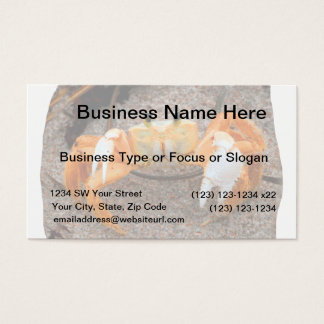 Fiddler crab on beach colorized orange on sand business card