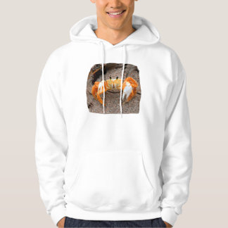 Fiddler crab on beach colorized orange on sand hoodie