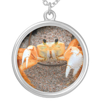 Fiddler crab on beach colorized orange on sand silver plated necklace