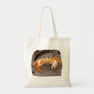 Fiddler crab on beach colorized orange on sand tote bag
