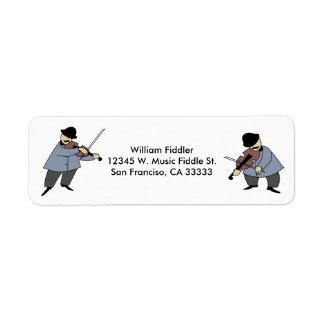 Fiddler del personalizado de la música del violín etiqueta de remitente