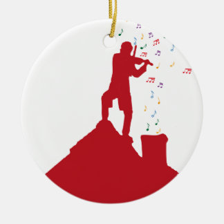 Fiddler  Double-Sided ceramic round christmas ornament