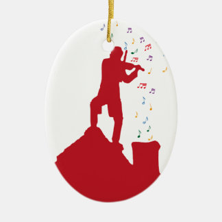 Fiddler  Double-Sided oval ceramic christmas ornament