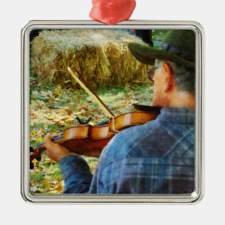 Fiddler Square Metal Christmas Ornament