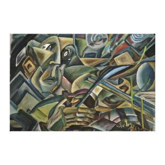 Fiddler, pintura al óleo cubista impresiones en lienzo estiradas