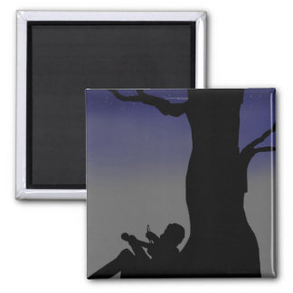 Fiddler Sitting Against Tree 2 Inch Square Magnet
