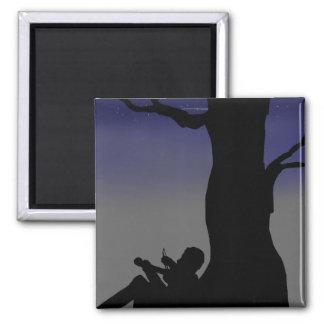 Fiddler Sitting Against Tree Magnet