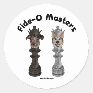 Fide-O domina perros del ajedrez Etiquetas Redondas