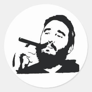 Fidel Castro con el pegatina del retrato del