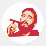 Fidel Castro con el pegatina del retrato del cigar