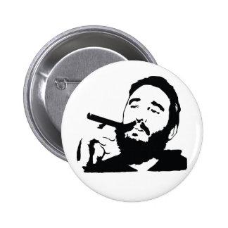 Fidel Castro with Cigar Portrait Button