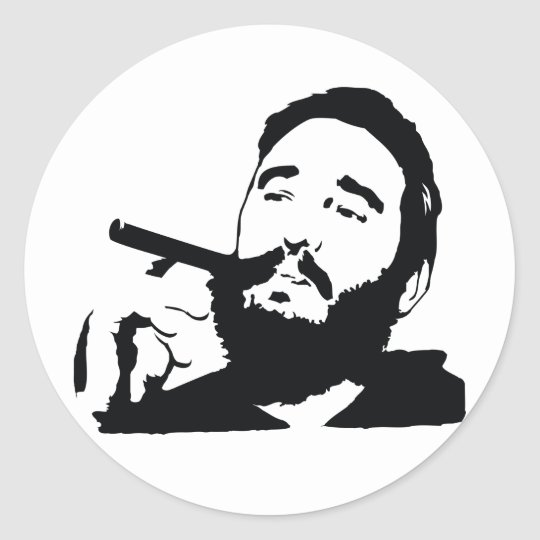 Fidel Castro with Cigar Portrait Sticker