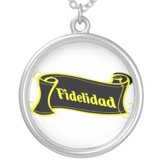 Fidelidad - loyalty writing volume kind Deco Fanta Silver Plated Necklace