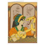 Fideos y papiro tarjeta de felicitación