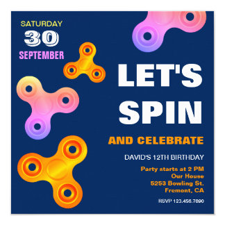 Fidget Spinner Birthday Party Invitation