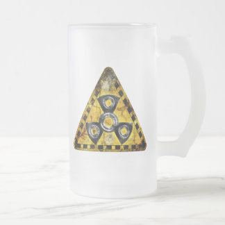 Fidget Spinner Nuclear Radiation Warning Triangle Frosted Glass Beer Mug