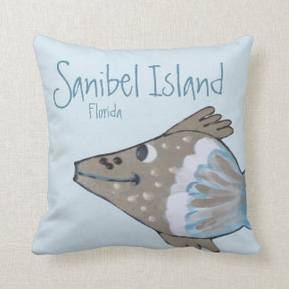 Fido Adorable Fish Art Sanibel Island Throw Pillow