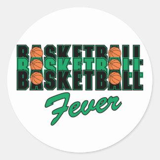 Fiebre del baloncesto pegatina redonda