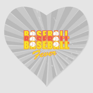 fiebre del béisbol roja y amarilla pegatina en forma de corazón