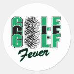 Fiebre del golf etiqueta redonda