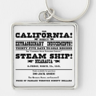 Fiebre del oro de California Llavero Cuadrado Plateado