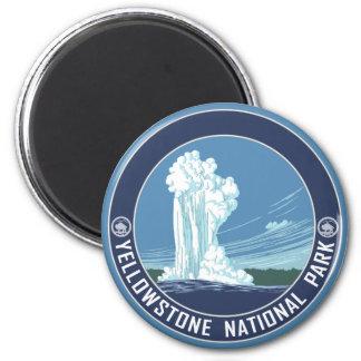 Fiel viejo - parque nacional de Yellowstone Imán Redondo 5 Cm