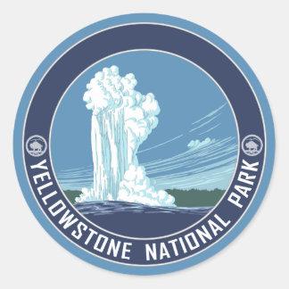 Fiel viejo - parque nacional de Yellowstone Etiqueta Redonda
